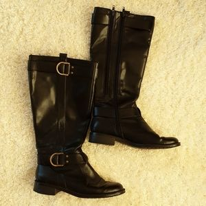 6.5 boots a2 by aerosoles faux leather black